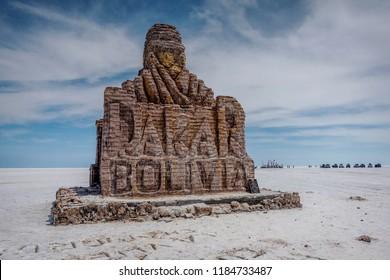 Salar de Uyuni, Bolivia- March 25, 2017: Dakar Rally Monument in Salar de Uyuni ( Salt Lake), Bolivia