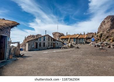 Salar de Uyuni, Bolivia- March 25, 2017: Incahuasi island ( Cactus Island) lokated at Salar de Uyuni the largest salt flat area in Bolivia