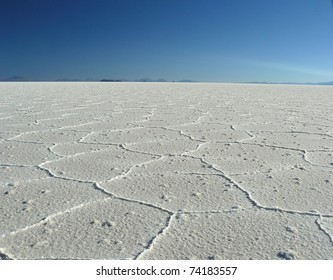 Salar de Uyuni- dried-up salt lake in the south of the Altiplano, Bolivia at an altitude of 3,650 m above sea level. Has an area of 10,582 km �² and is the largest saline in the world.
