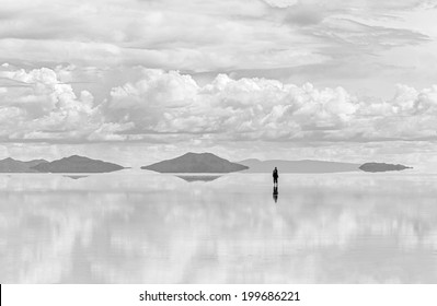 Salar de Uyuni is largest salt flat in the World (UNESCO World Heritage Site) - Altiplano, Bolivia, South America (black and white)