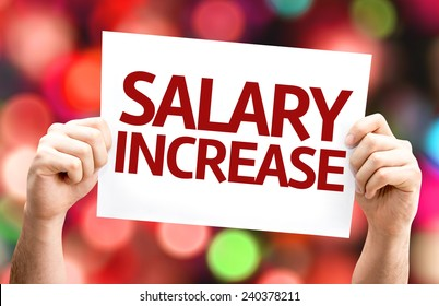Salary Increase card with colorful background with defocused lights
