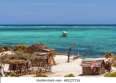 SALARY, MADAGASCAR, OCT 23: Vezo fishing village in south of Madagascar on october 23, 2016. Vezo is a nomad ethnic group in Madagascar.