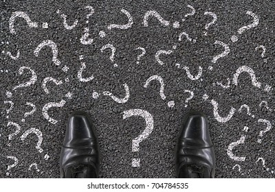 a salary man shoes standing on concrete road who confusing and can not find the answer for his life  concept.