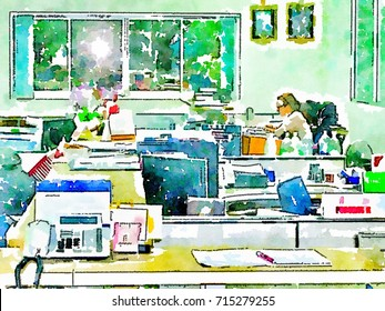 Salaryman Administrative Clerk Officer Manager Operator Staff Office Desk Man Women Working Factory Business Team Shop Product Area,Watercolor Background Line Art illustration Colorful Drawing Style