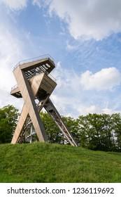 SALAS, CZECH REPUBLIC - APRIL 28 2018: Observation deck on beautiful Salas lookout tower, Uherske Hradiste district, Zlin region, Moravia on April 28, 2018 in Salas, Czech Republic.