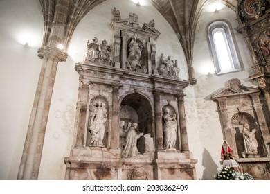 SALAS, SPAIN - Aug 9, 2019: Mausoleum of Fernando de Valdes y Salas, Spanish churchman, jurist and inquisitor, inside the Collegiate Church of Santa Maria la Mayor