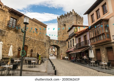 SALAS, SPAIN - Aug 9, 2019: The Palace of Valdes-Salas and the Valdes Tower in this town in Asturias
