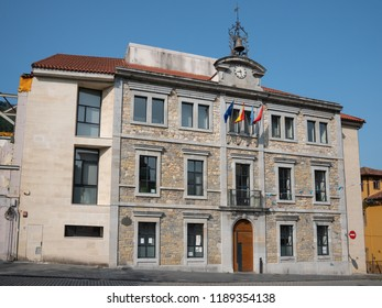 SALAS, SPAIN - AUGUST 20, 2018: Town hall in the city center of Salas during summer evening on August 20, 2018 in Asturias, Spain