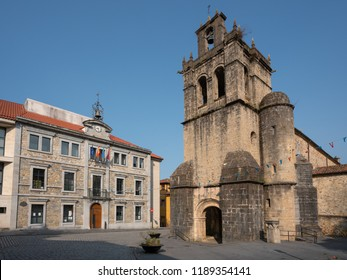 SALAS, SPAIN - AUGUST 20, 2018: Ensemble of historic buildings in the city center of Salas during summer evening on August 20, 2018 in Asturias, Spain