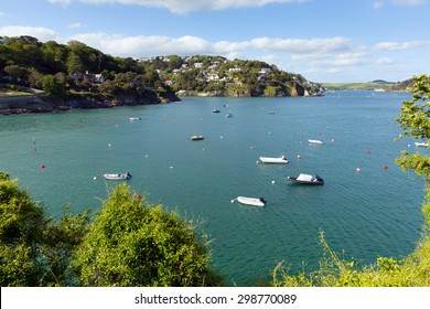 Salcombe Devon England UK view of the Kingsbridge Estuary popular for sailing and yachting with blue sky in summer