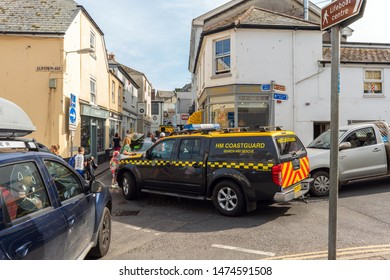 Salcombe, Devon, UK 10/09/19. The HM coastguard van blocking the town centre due to a rescue.