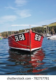 Salcombe fishing boat moored in the harbour.