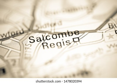 Salcombe Regis. United Kingdom on a geography map