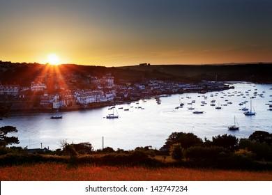 Salcombe ria (estuary) sunset in south Devon England UK