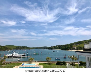 Salcombe, South Hams, Devon, England.   May 21st 2018. Salcombe harbour and Kingsbridge estuary on a blue sky day.