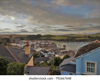 Salcombe town under the setting sun