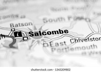 Salcombe. United Kingdom on a geography map