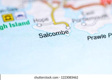 Salcombe. United Kingdom on a map