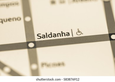Saldanha Station. Lisbon Metro map.