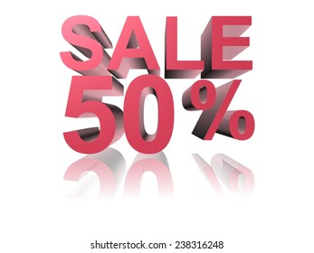 sale with 3d letter and white background