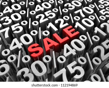 Sale 3d-text in center of different percents