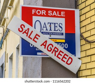 sale agreed sign, on a property at Athlone, Co. Westmeath, Ireland, taken on July 11th, 2017.