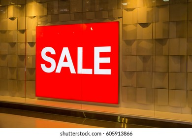 Sale banner board at shopping mall