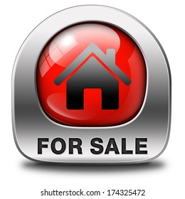 For sale banner, selling a house apartment or other real estate sign. Home to buy icon.
