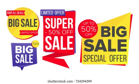 Sale Banner Set. Website Stickers, Color Web Page Design. Up To 50 Percent Off Badges. Isolated Illustration