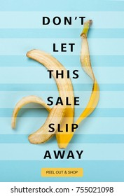 sale banner template with banana peel and lettering dont let this sale slip away