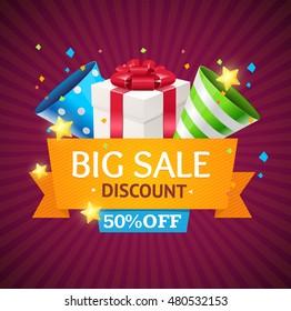 Sale Card with Gift Box. Seasonal Discounts. illustration