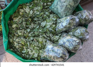 The sale of coca leaves in streets of Tingo Maria