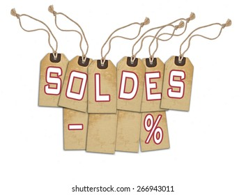 Sale concept, formed of textured blank tags; great for shopping, sales, advertising, discounts and promotion.French version