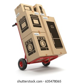 Sale and delivery of household kitchen appliances concept. Hand truck and cardboard boxes with appliaces. 3d illustration.