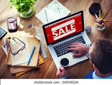 Sale Discount Promotion Deduction Man Planning Concept