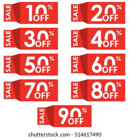 Sale and discount tag set. Price off tag design template. 10,20,30,40,50,60,70,80,90 percent sale.