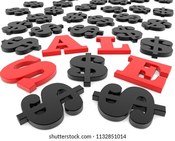 Sale with dollar signs around on white.3d illustration