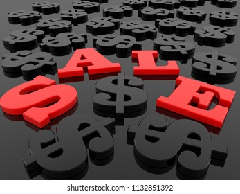 Sale with dollar signs around.3d illustration