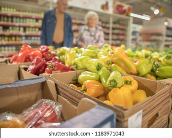 Sale of fresh vegetables in the grocery store. Pepper.