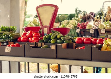 Sale of fruit and vegetables in the store, bazaar. Delicious agricultural products.