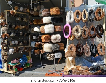 Sale of fur products in the market in Poland
