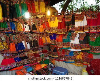 Sale of garments in the night market near the Law Garden, Ahmedabad.