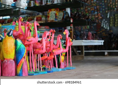 Sale of handmade carved tropical birds in a giftshop  at the Bayahibe beach, Dominican Republic