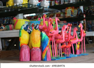 Sale of handmade carved tropical birds in a gift shop at the Bayahibe beach, Dominican Republic