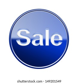 Sale icon glossy blue, isolated on white background