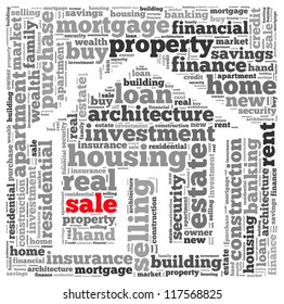 Sale info-text graphics and arrangement concept on white background (word cloud)