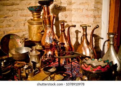 Sale of iron utensils in the eastern bazaar in Uzbekistan