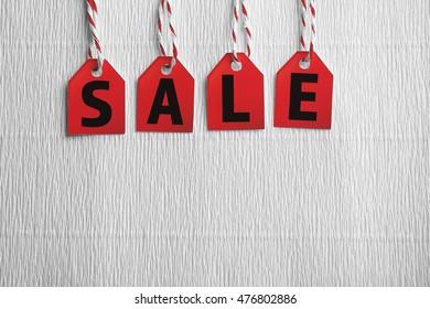 Sale labels on color background