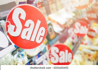 sale labels reduce price in the supermarket