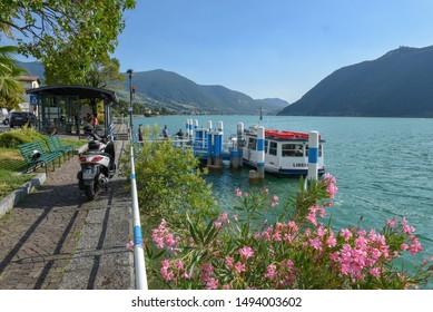 Sale Marasino, Italy - 29 July 2019: Touristic boat at Sale Marasino on Iseo Lake in Italy